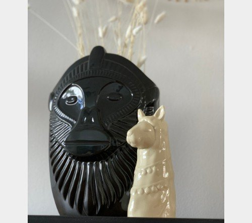 Vaas 'Monkey', apen vaas, zwarte moderne vaas, junglemush, trenchic, Trendy vaas keramiek, Zwart 25x16x35 cm, 41659ZWA-Jungle-4