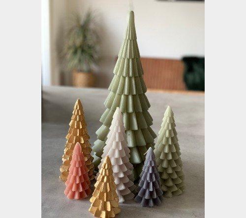 Kaarsen 'Kerstboom', sfeervolle kaarsen, kerstboom kaars, grote kaars, trenchic, junglemush, 1112619-Jungle-2
