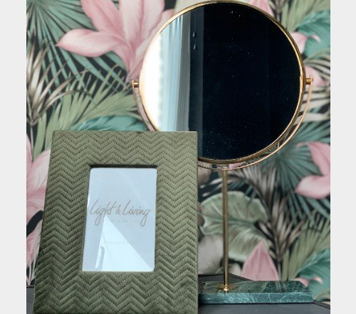 Spiegel 'Angle', trendy spiegel, staande spiegel, makeup spiegel, groene staande spiegel goud, junglemush, trenchic, 7309381-Jungle