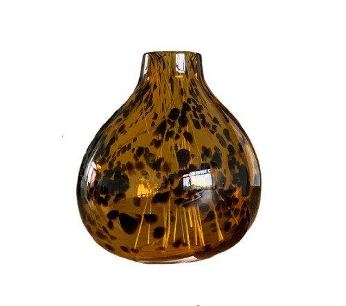 Vaas 'Panter', trendy vaas, panter print vaas, glazen vaas bruin met zwart, junglemush, trenchic, 1061087-Jungle-2