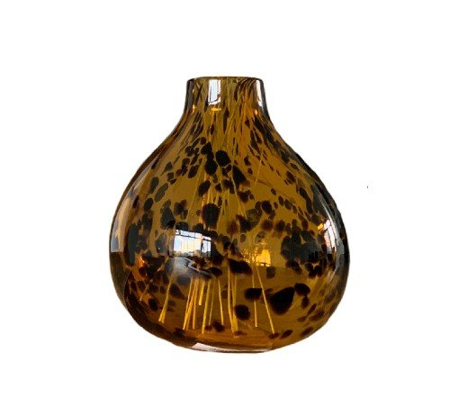 Vaas 'Panter', trendy vaas, panter print vaas, glazen vaas bruin met zwart, junglemush, trenchic, 1061087-Jungle