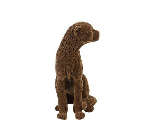 Beeldje 'Cheetah', dieren beeldjes, bruine velvet beeldjes, trenchic, junglemush, Decoratie object polyresin,20x9.5x16 cm bruin velvet,7416583-Jungle, 2
