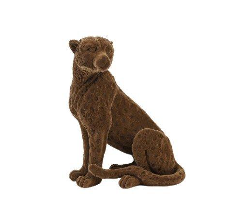 Beeldje 'Cheetah', dieren beeldjes, bruine velvet beeldjes, trenchic, junglemush, Decoratie object polyresin,20x9.5x16 cm bruin velvet,7416583-Jungle, 3