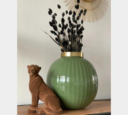Beeldje 'Cheetah', dieren beeldjes, bruine velvet beeldjes, trenchic, junglemush, Decoratie object polyresin,20x9.5x16 cm bruin velvet,7416583-Jungle, 4