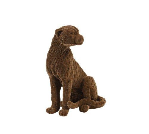 Beeldje 'Cheetah', dieren beeldjes, bruine velvet beeldjes, trenchic, junglemush, Decoratie object polyresin,20x9.5x16 cm bruin velvet,7416583-Jungle