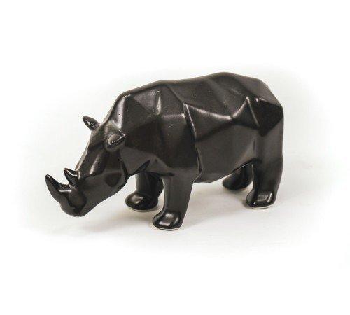 Beeldje 'Neushoorn', zwarte beeldjes, trendy dierenbeeldjes zwart keramiek, moderne strakke beeldjes, 201569-Jungle