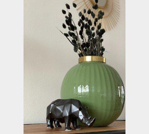 Beeldje 'Neushoorn', zwarte beeldjes, trendy dierenbeeldjes zwart keramiek, moderne strakke beeldjes, 201569-Jungle,2