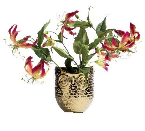 Bloempot 'Owl', trendy bloempot goud uil, moderen bloempot, 44103GOU-Jungle, 2