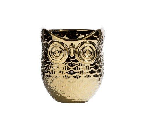 Bloempot 'Owl', trendy bloempot goud uil, moderen bloempot, 44103GOU-Jungle