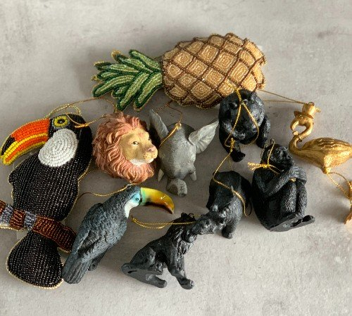 Kersthangers jungle thema, jungle kersthangers, dieren kersthangers, trendy kerstdecoratie