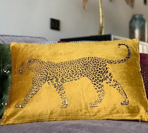 Kussen 'Lopende luipaard', sierkussens, dierenkussen, junglemush, trenchic,Decoratie kussen, 50x35 ocher, dierenprint,353-20-042-Jungle, 2