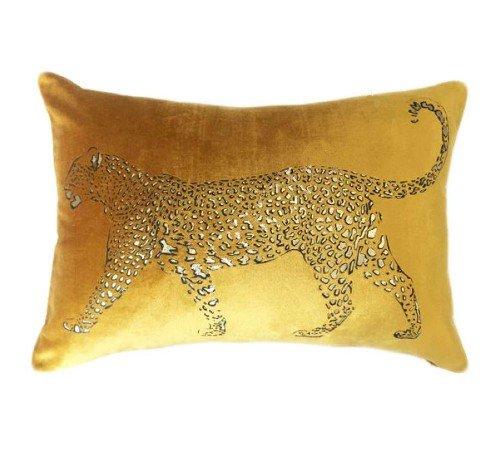 Kussen 'Lopende luipaard', sierkussens, dierenkussen, junglemush, trenchic,Decoratie kussen, 50x35 ocher, dierenprint,353-20-042-Jungle
