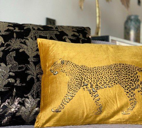 Kussen 'Safari', trendy sierkussen safari, dierenkussen zwart goud, kussen met dierenprint, 353-20-054-Jungle, 3