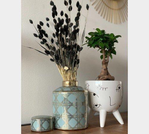 Pot 'Blues', trendy pot, decoratieve pot, opbergpot, moderne pot blauw met goud, WER-9980-Jungle, 3