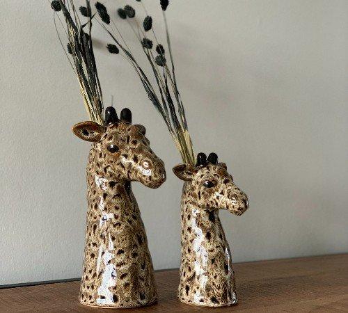 Vaas 'Giraffe', trendy vaas giraffe bruin, dierenvaas, moderne vaas dier, 020880-Jungle,2