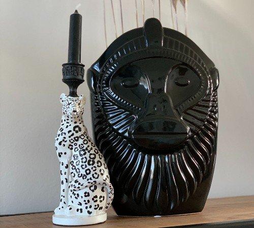 Kaarsenhouder 'Leopard', strakke kaarsenhouder zwart wit, trendy kaarsenhouder, luipaarden kaarsenhouder, trenchic, junglemush, 201338-Jungle-2