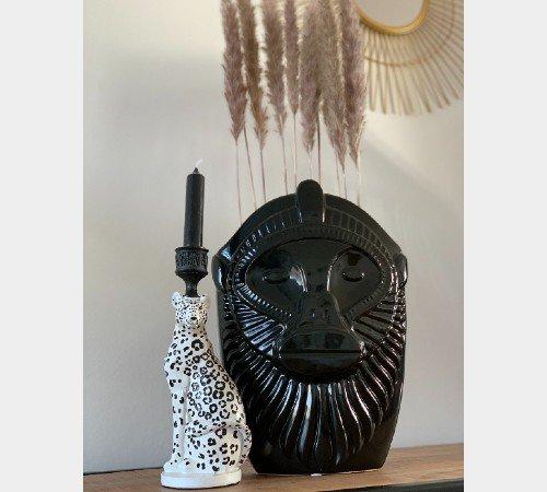 Kaarsenhouder 'Leopard', strakke kaarsenhouder zwart wit, trendy kaarsenhouder, luipaarden kaarsenhouder, trenchic, junglemush, 201338-Jungle-3