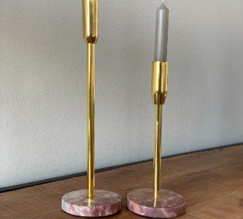 Kaarsenhouder 'Marble', trendy kaarsenhouder marmer, marmer metaal kaarsenhouder, moderne kaarsenhouder roze, trenchic, junglemush-2