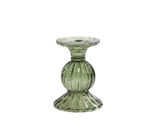 Kaarsenhouder 'Vintage', trendy kaarsenhouder glas, glazen kaarsenhouder, moderne kaarsenhouder licht groen, trenchic, junglemush, 7738678-Jungle