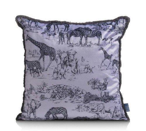 Kussen 'Safari', trendy sierkussen safari, dierenkussen paars zwart, kussen met dierenprint, 41957GRY-Jungle