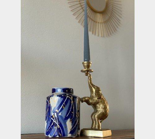 Kaarsenhouder 'Olifant', trendy kaarsenhouder, kandelaar goud, moderne kandelaar, dieren kandelaar, Junglemush, 001-20-3837-Jungle, 3