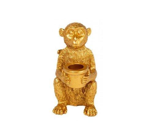 Kaarsenhouder 'Zittend aapje', trendy kaarsenhouder, kandelaar monkey, gouden aap, dieren kandelaar, Junglemush, 647207-Jungle