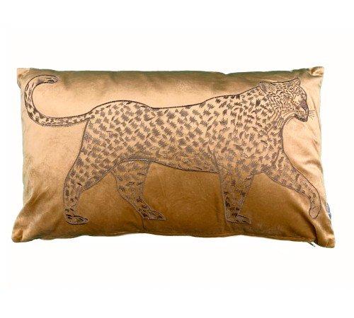 Kussen 'Lopende luipaard', trendy kussen, dierenkussen goud_okergeel, modern kussen, junglemush, 310-20-109-Jungle, 1