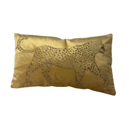 Kussen 'Lopende luipaard', trendy kussen, dierenkussen goud_okergeel, modern kussen, junglemush, 310-20-109-Jungle