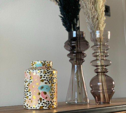 Pot 'Color', trendy pot, keramiek, opberg pot, pot voor droogbloemen, junglemush, XET-4806-Jungle, 3