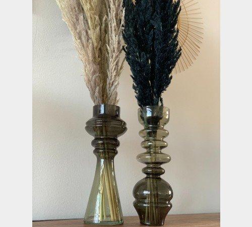 Vaas 'Blown', geblazen glazen vaas, trendy vaas, vintage vaas groen, moderne vaas, droogbloemen, Junglemush, 5973981-Jungle, 3