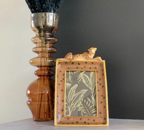 Vaas 'Blown', geblazen glazen vaas, trendy vaas, vintage vaas okergeel, moderne vaas, droogbloemen, Junglemush, 5973960-Jungle, 2