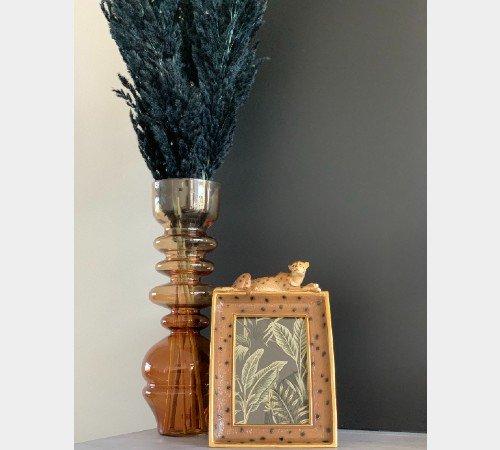 Vaas 'Blown', geblazen glazen vaas, trendy vaas, vintage vaas okergeel, moderne vaas, droogbloemen, Junglemush, 5973960-Jungle, 3