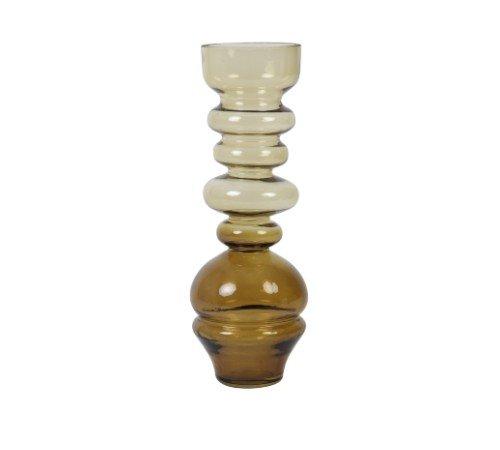 Vaas 'Blown', geblazen glazen vaas, trendy vaas, vintage vaas okergeel, moderne vaas, droogbloemen, Junglemush, 5973960-Jungle