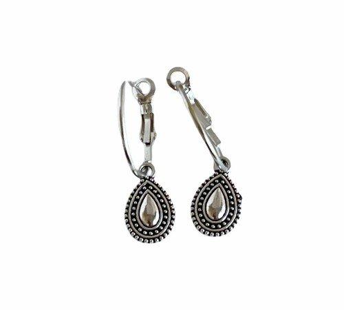 Oorbellen 'Drop', trendy oorbellen, zilveren oorbellen, hippe panter oorbellen, trenchic, Jungle jewelry, SO-0021