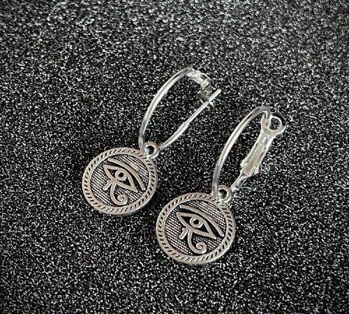 Oorbellen 'Geluksoog', trendy oorbellen, zilveren oorbellen, hippe geluksogen oorbellen, trenchic, Jungle jewelry, SO-0034, 2