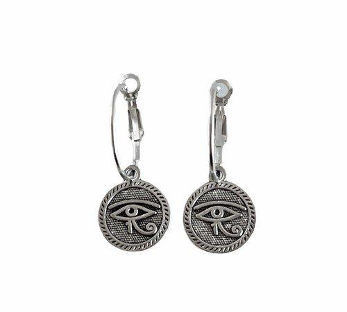 Oorbellen 'Geluksoog', trendy oorbellen, zilveren oorbellen, hippe geluksogen oorbellen, trenchic, Jungle jewelry, SO-0034