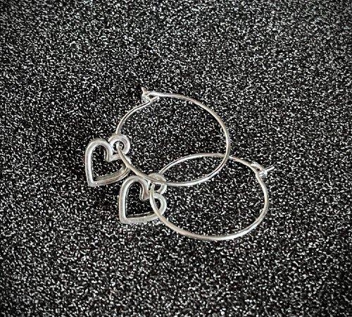 Oorbellen 'Heart', trendy oorbellen, zilveren oorbellen, hartjes oorbellen, trenchic, Jungle jewelry, SO-0032, 2