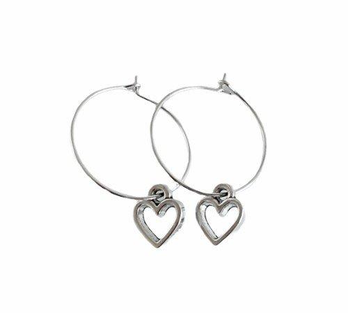 Oorbellen 'Heart', trendy oorbellen, zilveren oorbellen, hartjes oorbellen, trenchic, Jungle jewelry, SO-0032