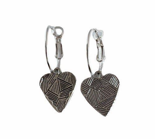 Oorbellen 'Heart', trendy oorbellen, zilveren oorbellen, hippe hartjes oorbellen, trenchic, Jungle jewelry, SO-0024