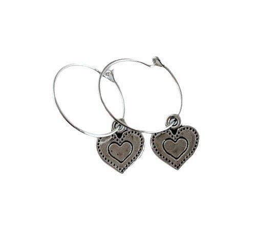 Oorbellen 'Heart', trendy oorbellen, zilveren oorbellen, hippe hartjes oorbellen, trenchic, Jungle jewelry, SO-0030