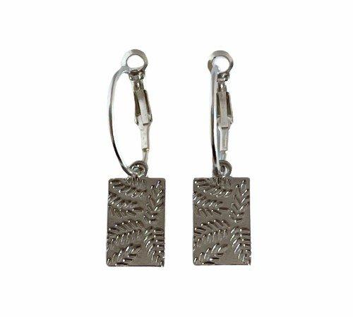 Oorbellen 'Leaves', trendy oorbellen, zilveren oorbellen, hippe panter oorbellen, trenchic, Jungle jewelry, SO-0017