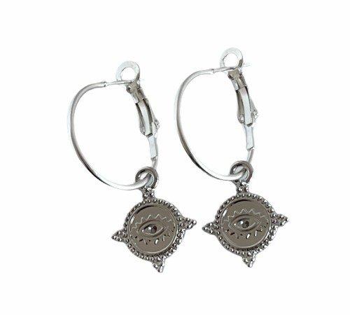 Oorbellen 'Lucky eye', trendy oorbellen, zilveren oorbellen, hippe ogen oorbellen, trenchic, Jungle jewelry, SO-0022