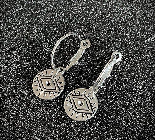 Oorbellen 'Lucky eye', trendy oorbellen, zilveren oorbellen, hippe ogen oorbellen, trenchic, Jungle jewelry, SO-0023, 2