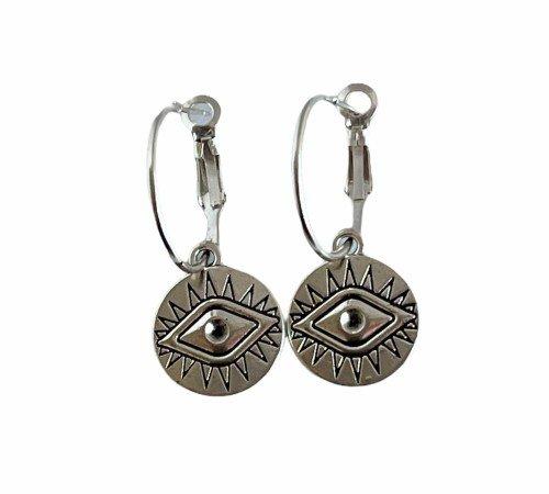 Oorbellen 'Lucky eye', trendy oorbellen, zilveren oorbellen, hippe ogen oorbellen, trenchic, Jungle jewelry, SO-0023