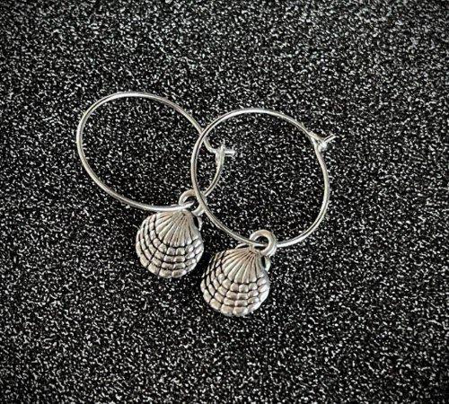 Oorbellen 'Shell', trendy oorbellen, zilveren oorbellen, hippe schelpen oorbellen, trenchic, Jungle jewelry, SO-0028, 2