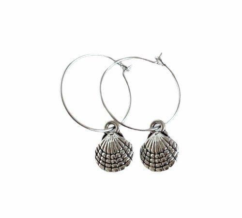Oorbellen 'Shell', trendy oorbellen, zilveren oorbellen, hippe schelpen oorbellen, trenchic, Jungle jewelry, SO-0028