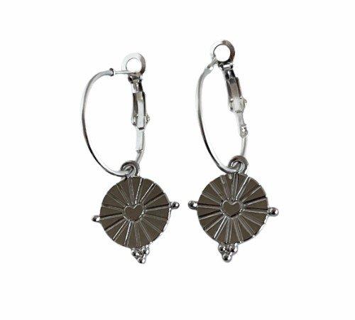 Oorbellen 'Shine', trendy oorbellen, zilveren oorbellen, hippe hartjes oorbellen, trenchic, Jungle jewelry, SO-0031