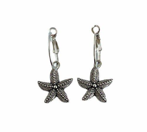 Oorbellen 'Star', trendy oorbellen, zilveren oorbellen, hippe zeester oorbellen, trenchic, Jungle jewelry, SO-0026