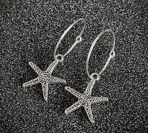 Oorbellen 'Star', trendy oorbellen, zilveren oorbellen, hippe zeester oorbellen, trenchic, Jungle jewelry, SO-0029, 2