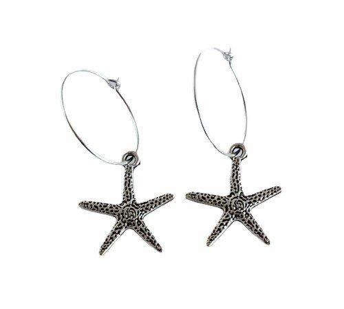 Oorbellen 'Star', trendy oorbellen, zilveren oorbellen, hippe zeester oorbellen, trenchic, Jungle jewelry, SO-0029